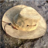 Leather windstrap on wide brimmed hat